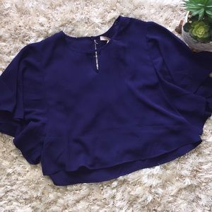 Blue cropped blouse NWT